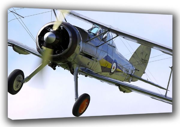 Gloster Gladiator Military Aircaft/Aviation (British Biplane Fighter) Canvas. Sizes: A3/A2/A1 (003843)
